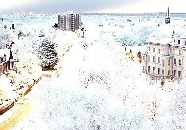 Snowy Dusk, London, England