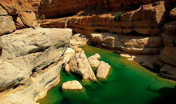by Daniel Laskowski on Flickr.The natural pools of Wadi Shab in Oman.
