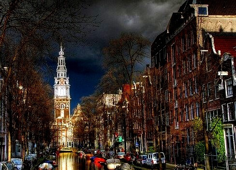 by MorBCN on Flickr.Groenburgwal canal and the Zuiderkerk church. Amsterdam, Netherlands.