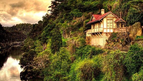 House on a cliff, Cataract Gorge, Tasmania, Australia