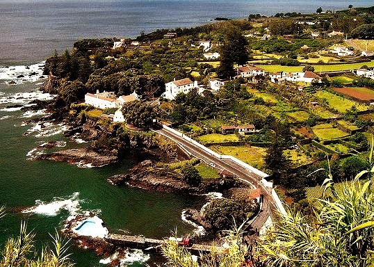 Caloura in Sao Miguel Island, Azores, Portugal . The pool from the bottom-left is amazing!