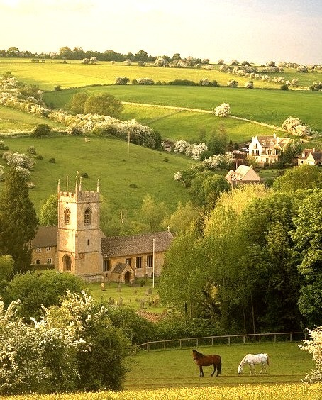 Classical rural scene in the cotswold village of Naunton, Gloucestershire, England
