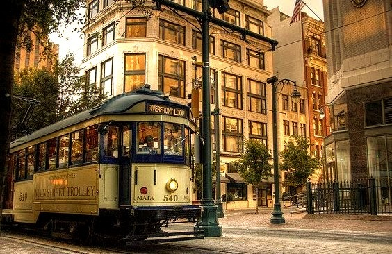 Trolley in downtown Memphis, Tennessee, USA
