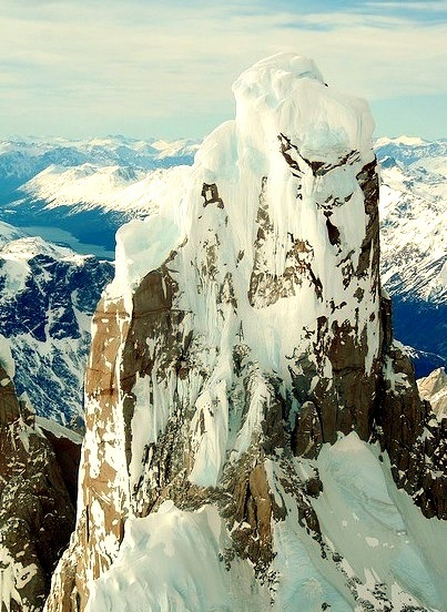 View from the top of Cerro Torre in Patagonia, Argentina