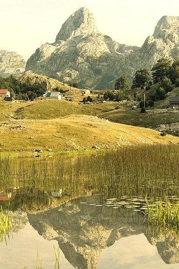 Mountain reflection on Bukumir Lake, Montenegro