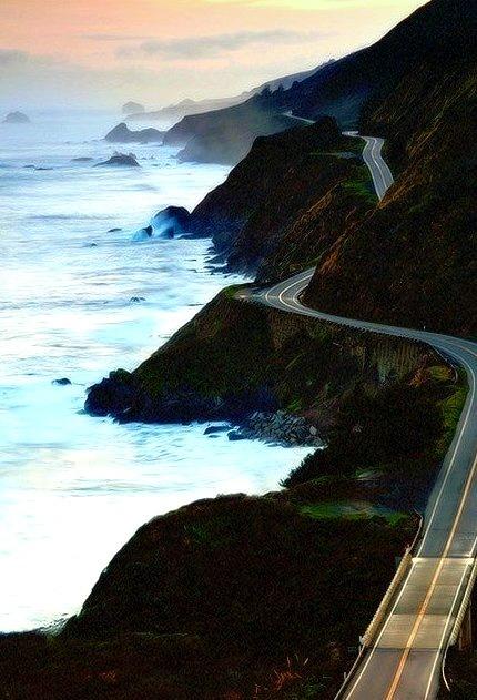 Sunset, Highway 1, Marin County, California