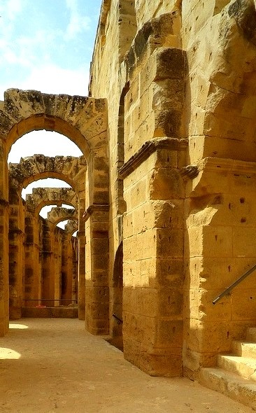 Under the arches of the colosseum, El Jem, Tunisia