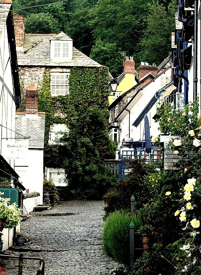 Charming cobbled streets of Clovelly in Devon, England