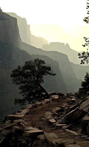 Late afternoon hike on South Kaibab Trail, Grand Canyon National Park, USA