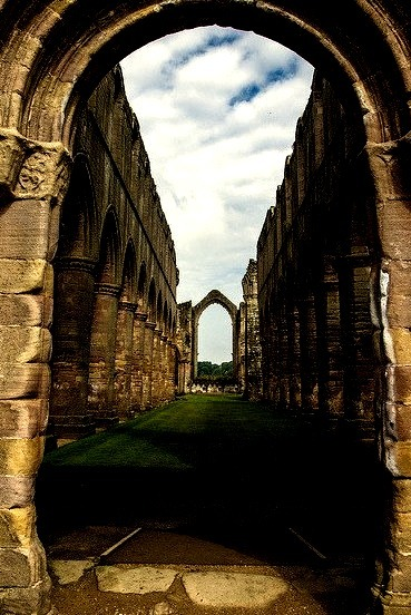 Ruins of Fountains Abbey in North Yorkshire, England